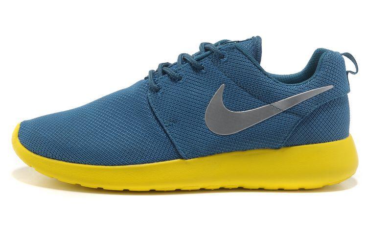 size 40 447ea f1573 ... Acheter Chaussures Nike Roshe Run Femme Bleu Jaune Argent Mesh V,air  jordan eclipse, ...