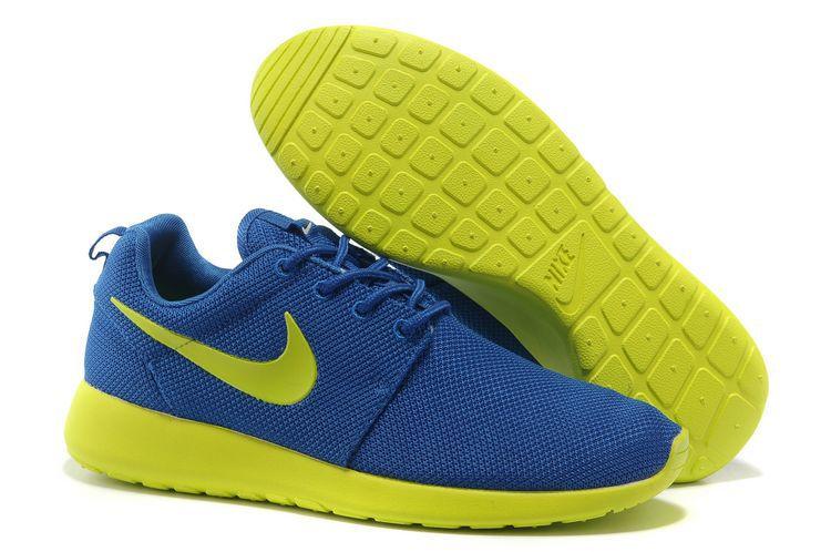 buy popular efac1 21587 Acheter Chaussures Nike Roshe Run Femme Sombre Bleu Jaune Citron,air jordan  7,officiel