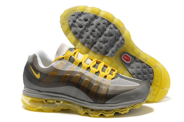 watch 19335 422e3 Pas Cher Nike Air Max 95 360 Homme Loup Gris Jaune Soldes Chaussures,