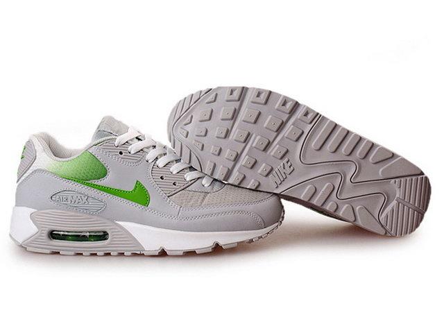 new concept e9e9d dc522 Pas Cher Nike Air Max 90 Femme Gris Neutre Mean Green Soldes Chaussures
