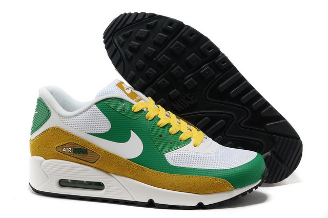 sale retailer 37771 5bfaa Pas Cher Nike Air Max 90 Hyperfuse Femme Blanc Vert Brun Soldes Chaussures,