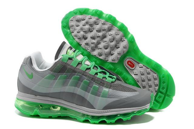 outlet store bef17 401b5 Pas Cher Nike Air Max 95 360 Femme Loup Gris Vert Blanc en
