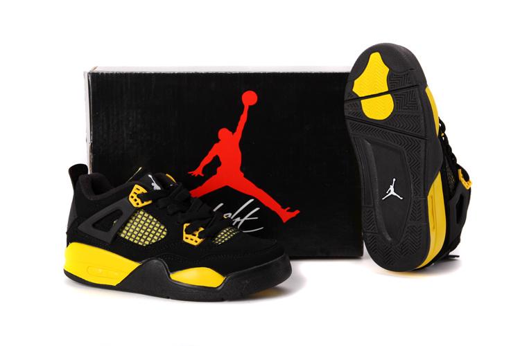 9b6a62e3231a ... Air Jordan 4 Enfant Noir Jaune