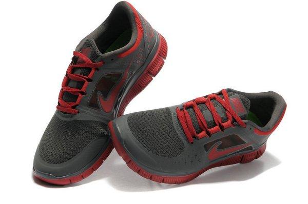 reputable site ee881 adebc Nike Free Run+ 3 Chaussures de Course Pied Pour Homme Gris Foncé Rouge Foncé ,