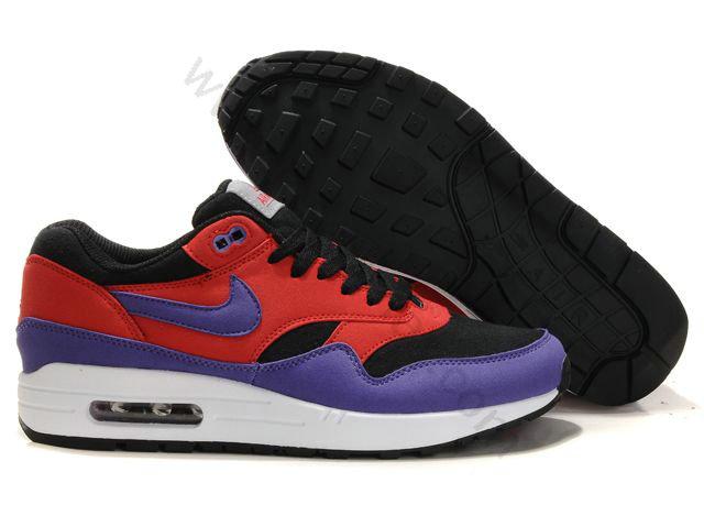 best service 12c4d de7f8 Chaussures Nike Air Max 1(87) Homme Pas cher Purple Rouge et Noi,